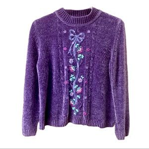 Alfred Dunner Purple Sweater with Pretty flowers
